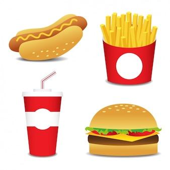 Diseños planos de comida rápida