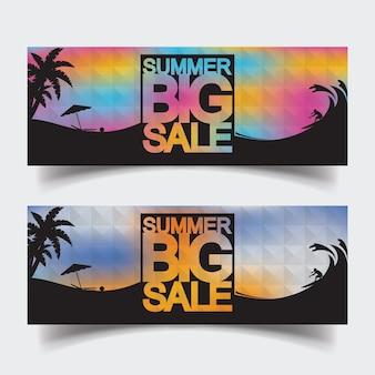 Diseños de plantilla de banner de encabezado de venta grande de verano para web