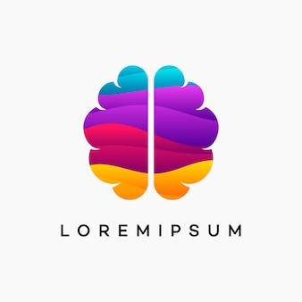 Diseños de plantilla de logotipo de cerebro ondulado moderno, ilustración de vector de logotipo de educación