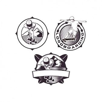 Diseños de plantillas de logo de longboarding