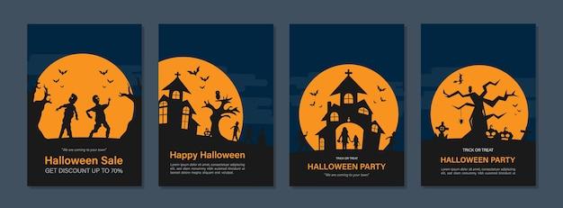 Diseños de portada de eventos de vacaciones de halloween para informe anual, folletos, volantes, folletos, revistas.
