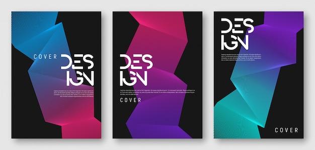 Diseños de portada geométrica degradada abstracta