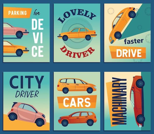 Diseños positivos de tarjetas de felicitación con coches urbanos