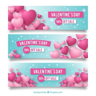Diseños rosas y azules de banners para rebajas san valentin