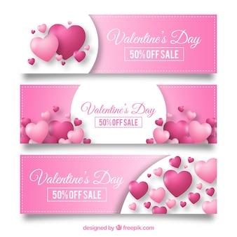 Diseños rosas de banners para rebajas san valentin