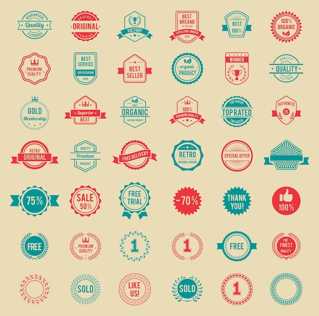 Diseños surtidos insignias y etiquetas vintage de colores