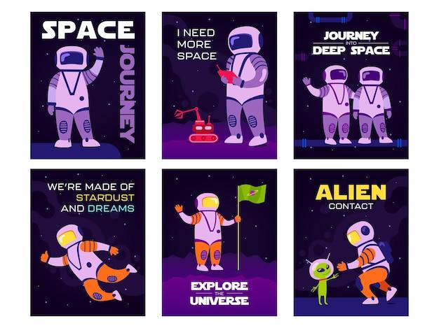 Diseños de tarjetas de felicitación brillantes con felices exploradores del cosmos