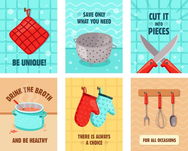 Diseños de tarjetas de felicitación vívidos con utensilios de cocina. guantes de horno, cuchillos, olla con caldo, colador.