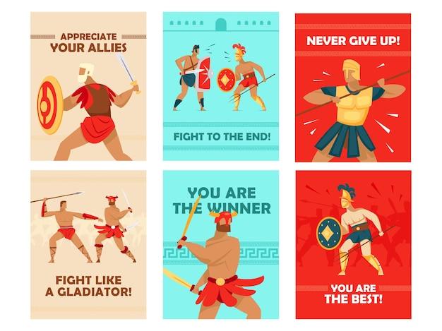 Diseños de tarjetas vívidos con gladiadores peleando. guerreros del coliseo con espadas y cascos, texto motivacional.