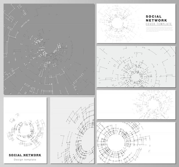Los diseños de vectores abstractos minimalistas de las maquetas modernas de redes sociales
