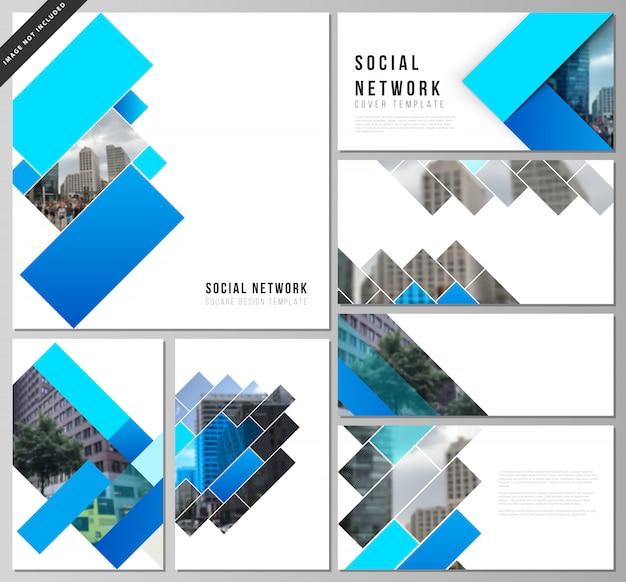 Diseños vectoriales de maquetas de redes sociales, fondo creativo abstracto geométrico