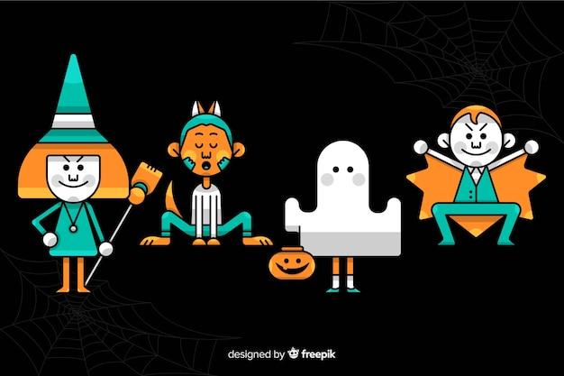 Disfraces amarillos y azules para niños en halloween