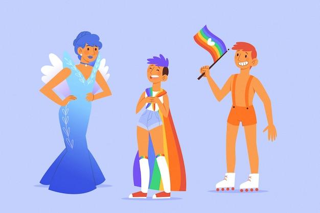 Disfraces exóticos orgullo día personas