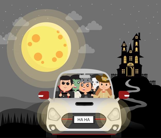 Disfraces de halloween para niños. en coche, ilustración de noche de luna llena. bruja negra en la montaña