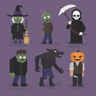 Disfraces de monstruos de halloween en diseño plano, ilustración de personaje de halloween, bruja, zombi, segador, frankenstein, hombre lobo y calabaza