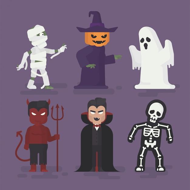 Disfraces de monstruos de halloween en diseño plano, ilustración de personaje de halloween, fantasma, momia, vampiro, diablo, esqueleto y calabaza
