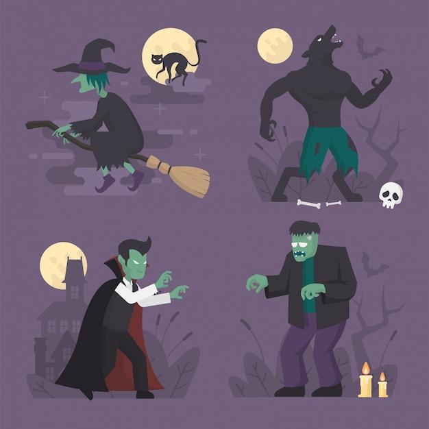 Disfraces de monstruos de halloween en diseño plano, ilustración de personaje de halloween, vampiro, hombre lobo, bruja, frankenstein
