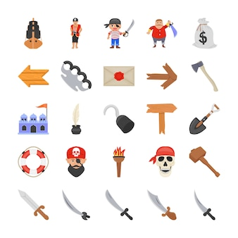 Disfraces de pirata iconos planos