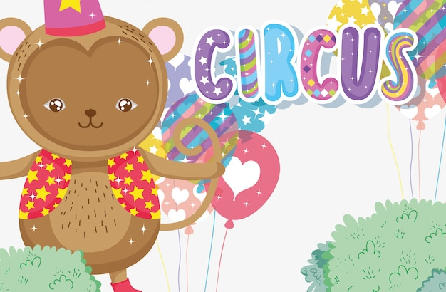 Disfraz de circo mono con globos de entretenimiento.