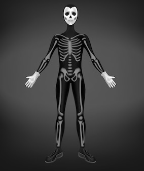 Disfraz de esqueleto o muerte para fiesta de halloween aislado sobre fondo negro.