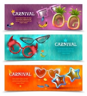Disfraz de fiesta de carnaval divertido gafas gafas de sol en forma de estrella de corazón 3 banners realistas coloridos horizontales ilustración vectorial