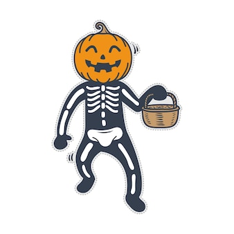 Disfraz de halloween calabaza esqueleto lindo.