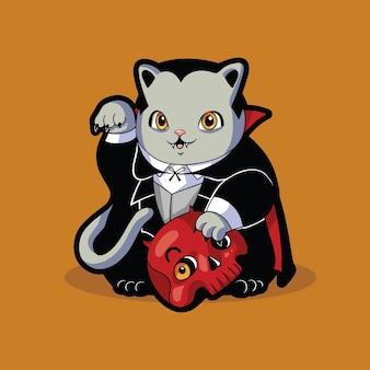 Disfraz de halloween de gato lindo drácula