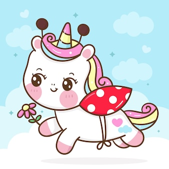 Disfraz de mariquita de dibujos animados lindo unicornio con flor kawaii animal