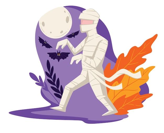 Disfraz de momia para fiesta de halloween, celebración de la fiesta de otoño. esqueleto con vendaje caminando en luna llena, murciélagos voladores y follaje decorativo. evento tradicional en estados unidos, vector en plano