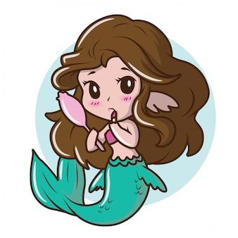 Disfraz de niña linda una sirena., dibujos animados de cuento de hadas