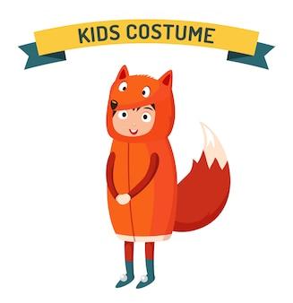 Disfraz de niño fox aislado ilustración vectorial