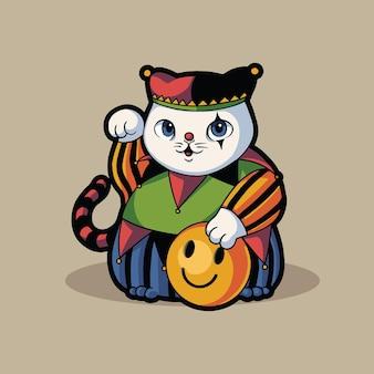 Disfraz de payaso divertido gato lindo para halloween