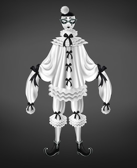 Disfraz de pierrot blanco con lazos negros y pompones en manga larga.