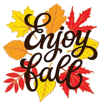 Disfruta el otoño. letras de mano