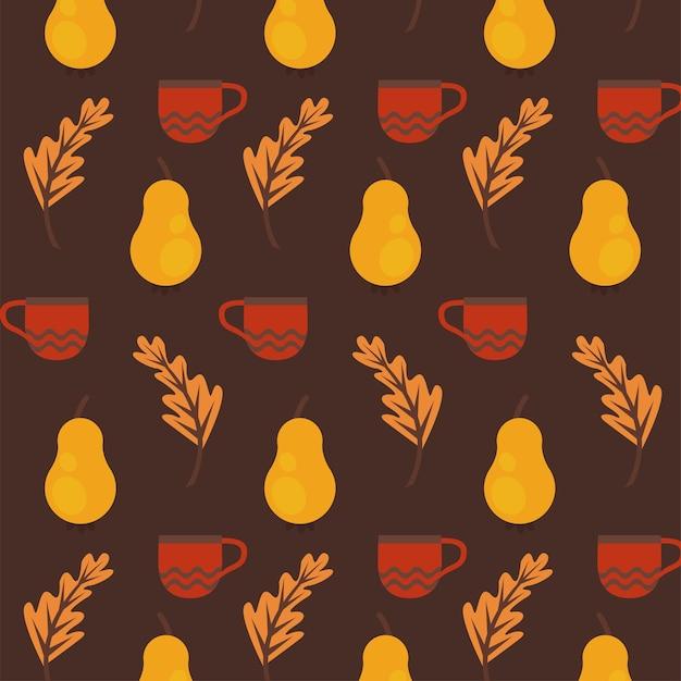 Disfrute del cartel de otoño con frutos secos y patrón de hojas.
