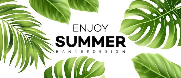 Disfrute de la pancarta de verano con hojas de palmeras tropicales y letras escritas a mano.