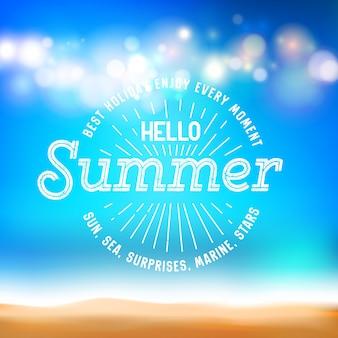 Disfrute de la señal de everymoment y hola verano en la tarjeta de vacaciones.