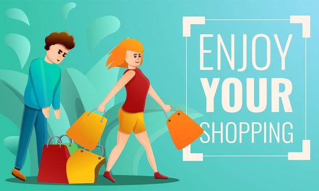 Disfrute de su banner de concepto de compras, estilo de dibujos animados