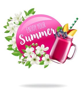 Disfrute de su cartel de temporada de verano con flores y bebida de frutas.