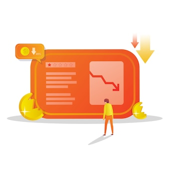 Disminuir la tasa y la pérdida de ingresos ilustración plana