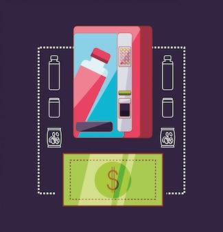 Dispensador de bebidas con billete dólar máquina electrónica