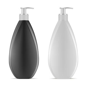 Dispensador de plástico en blanco botella. envase de crema loción