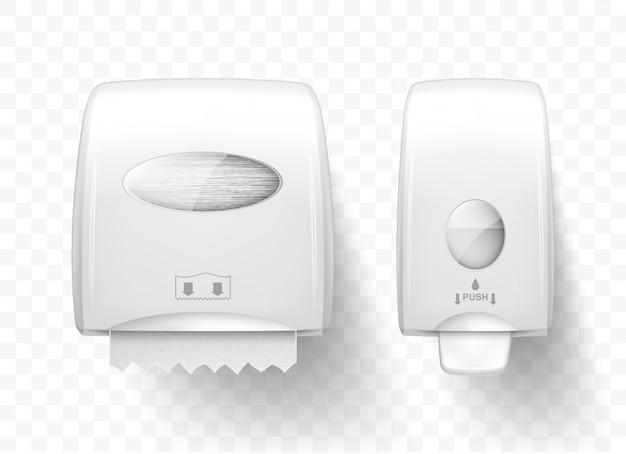 Dispensadores de jabón líquido y toallas de papel, realistas