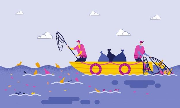 Disposición de basura en el mar o el océano de dibujos animados plana.