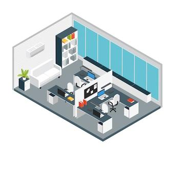 Disposición de composición de lugar de trabajo de oficina interior isométrica de muebles y equipos en miniatura