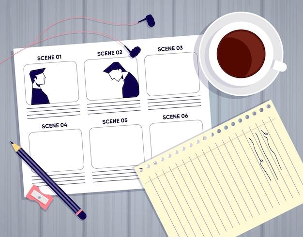 Disposición de los elementos conceptuales del guión gráfico.