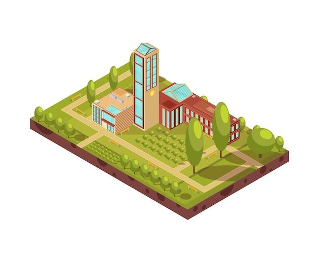 Disposición isométrica del moderno edificio de la universidad con la torre de cristal árboles verdes pasillos con bancos ilustración vectorial 3d