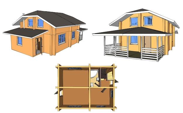 Disposición del plano de la casa. arquitectura de construcción de viviendas. ilustración vectorial. ilustración sobre fondo blanco.
