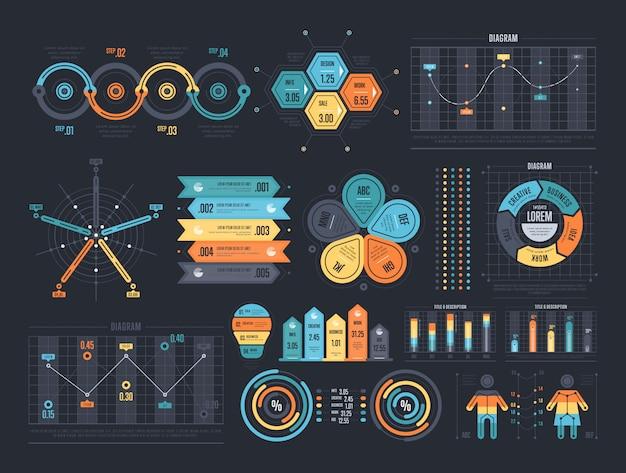 Disposición de plantillas de infografía.