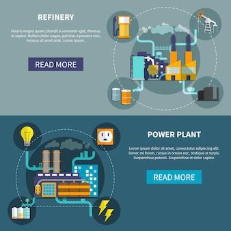 Disposición de refinería y planta de energía.